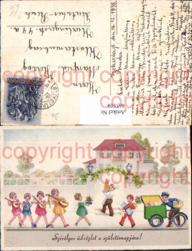 Künstler Ak Post Briefträger Kinder Singen Fahrrad Postbote