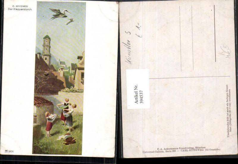 Künstler AK C. Spitzweg Der Klapperstorch Storch Baby pub A. Ackermann 29