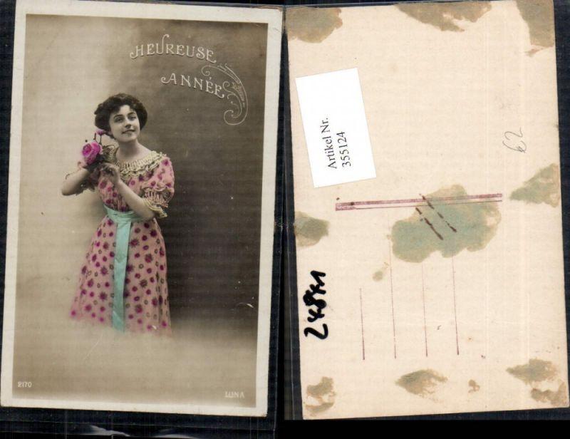 Foto Ak Frau Kleid Rosen Blumen Heureuse Annee