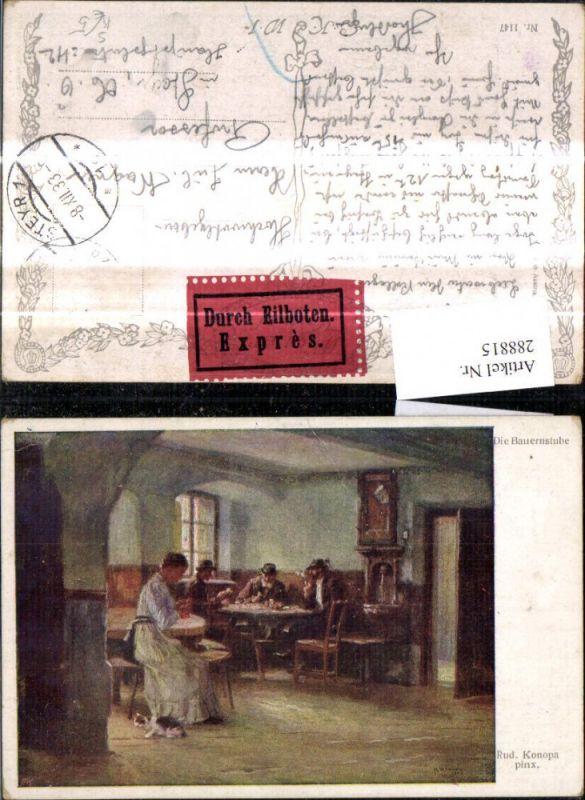 Künstler Ak Rud. Konopa Die Bauernstube Frau Nähen Männer Kartenspielen H