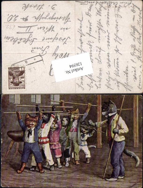 Arthur Thiele vermenschlichte Katzen personifizierte turnen Theo Stroefer