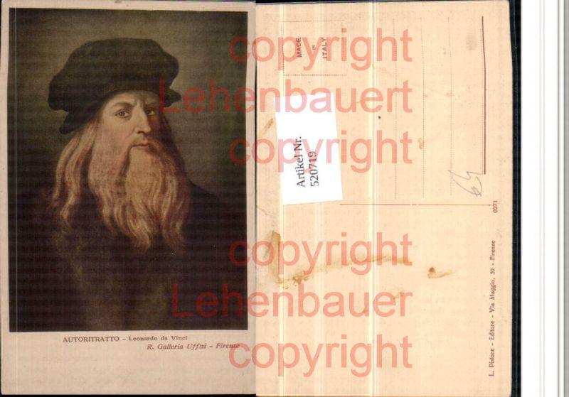 Künstler AK Leonardo da Vinci Autoritratto Mann Bart Portrait