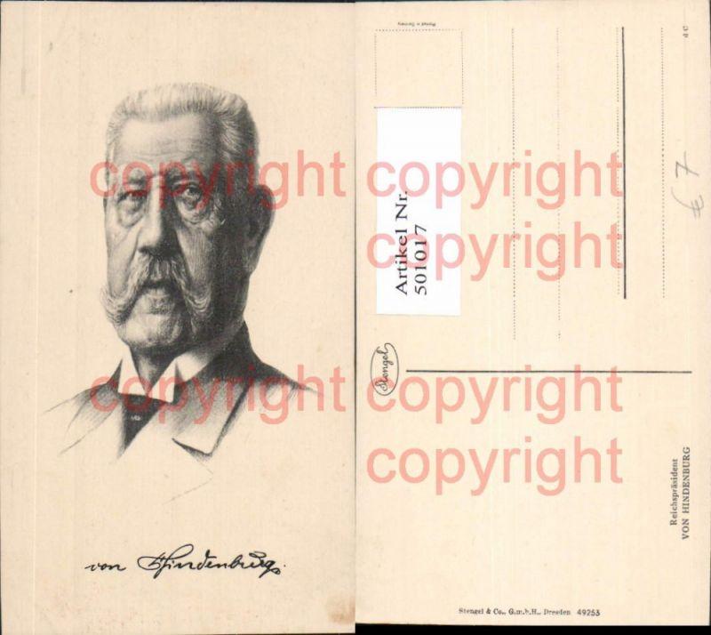 Portrait Reichspräsident von Hindenburg Adel Monarchie
