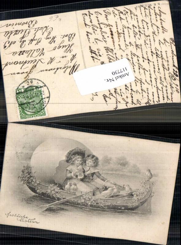 Art Nouveau Jugendstil Ostern Kinder Boot Osterei J. Kränzle sign. Küken
