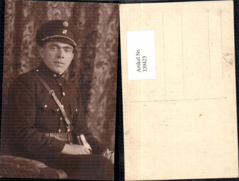Foto Ak WW1 Soldat Uniform Portrait