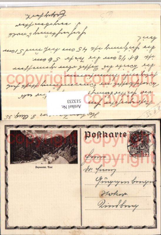 Ganzsache Hohentauern 1935 Paznauntal Bergkulisse