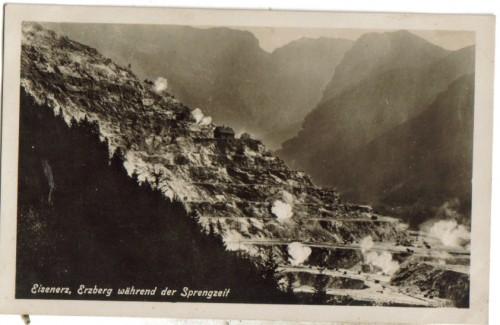 11153;Eisenerz Erzberg während Sprengzeit 1927