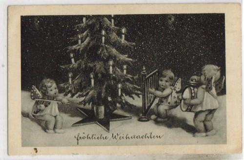 weihnachten engel weihnachtsbaum 1900 druck 12 cm x 9. Black Bedroom Furniture Sets. Home Design Ideas