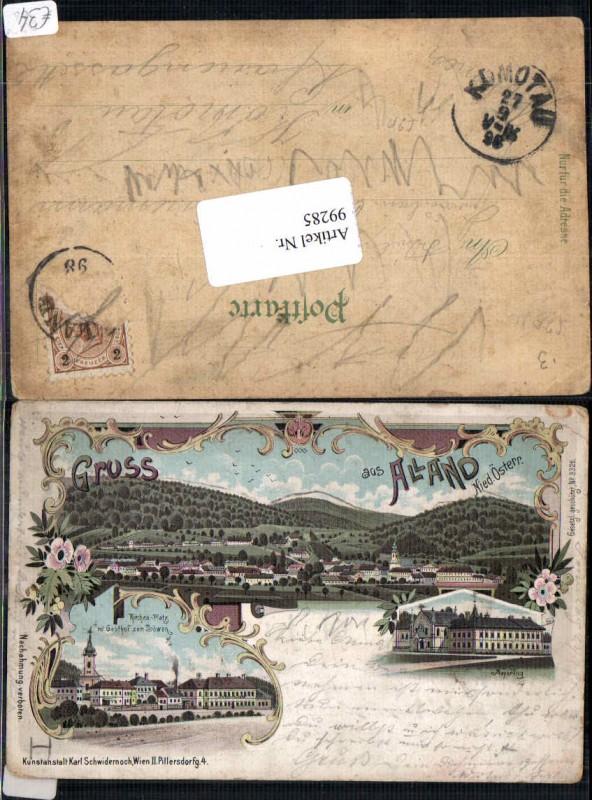99285;Tolle Litho Gruss aus Alland Gasthaus Löwe 1898