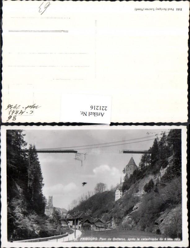 Fribourg Freiburg Pont du Gotteron apres la catastrophe 1919