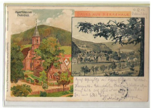 23023;Litho Gruß aus Herrenalb sign. C. Münch 1904
