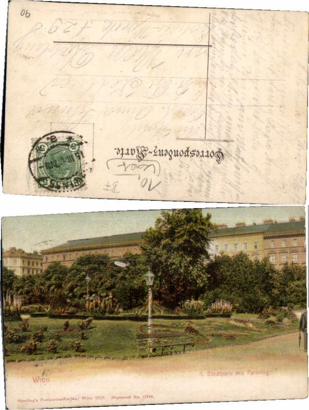 70441;Wien Stadtpark m. Parkring Partie um 1906