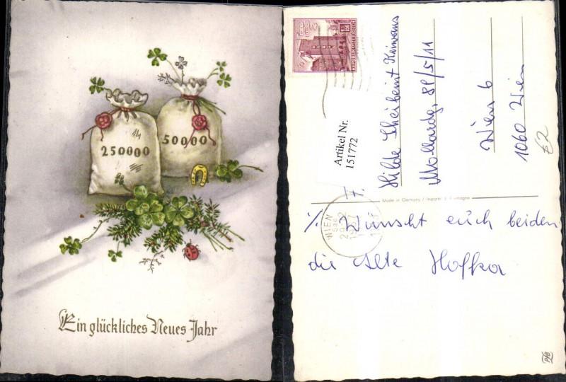 Neujahr Geldsäcke Tannenzweige Klee Kleeblatt Marienkäfer Glitzerschrift