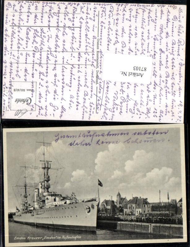 Emden Kreuzer Emden im Außenhafen Hafen