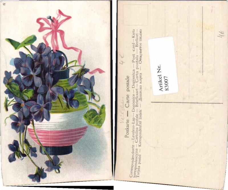 83007;Tolle Präge AK Veilchen Vase Blumen Nagel