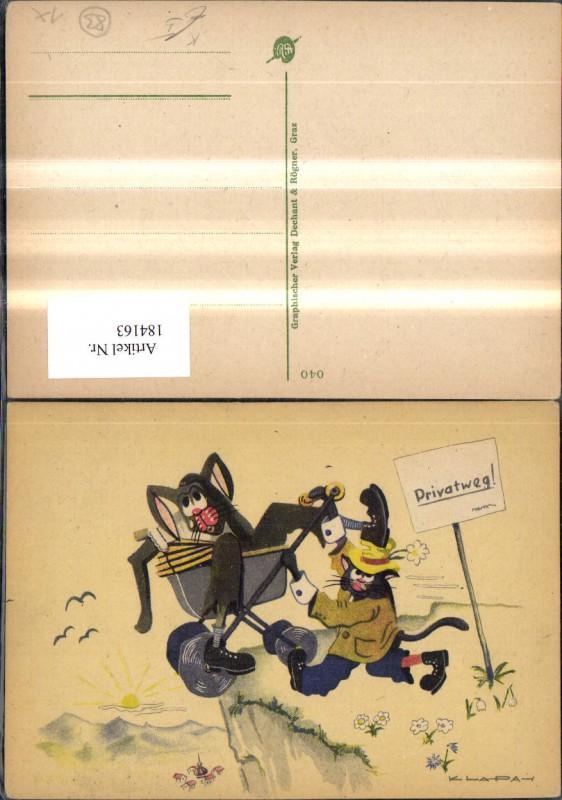 Scherz Humor Katzen a. Privatweg m. Kinderwagen Künstler Ak Klapai