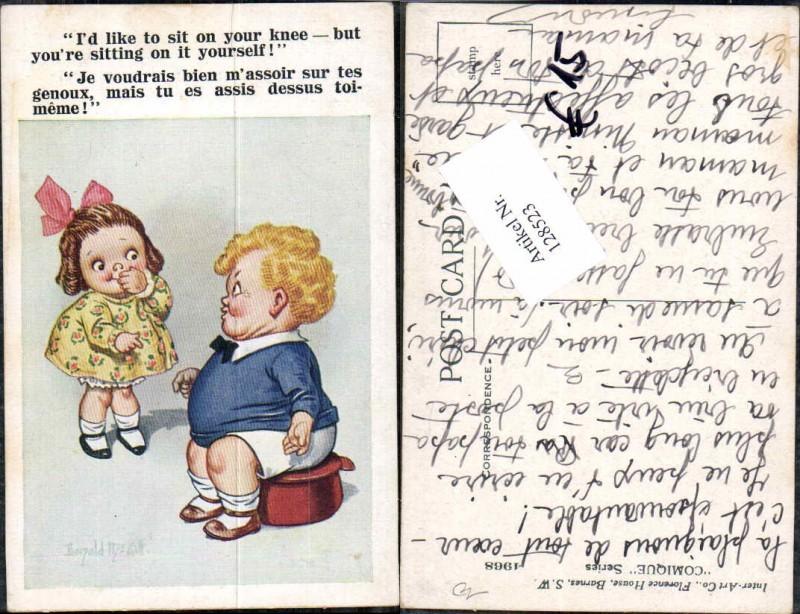 Donald McGill Mc Gill Süsse Kinder AK Mädchen kleid lacht dicken Junge au