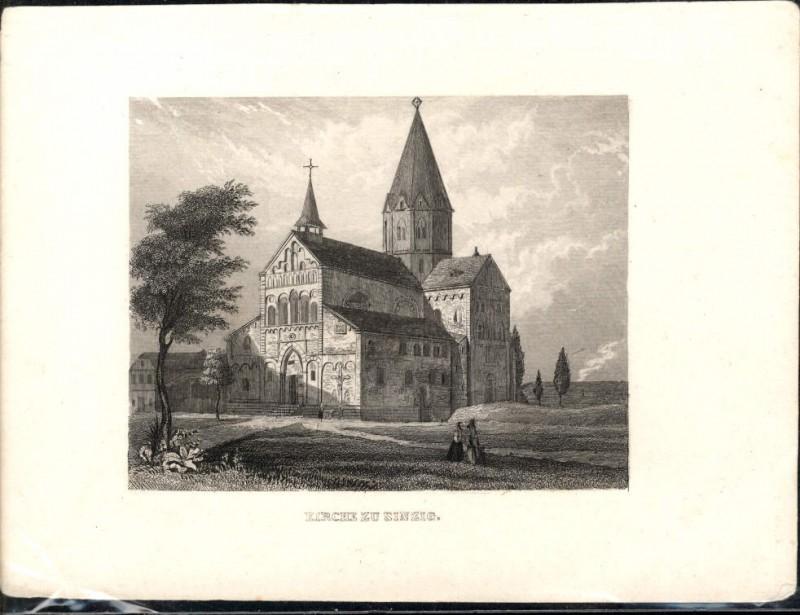 Stahlstich Stich Kirche z. Sinzig