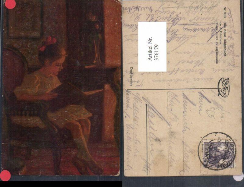 Degi AK 518 Künstler A. Fuhrmann Das neue Bilderbuch Mädchen liest lesen