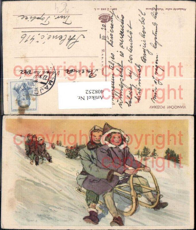 Künstler Ak Vladimir Charvat Schlittenfahren Rodeln Wintersport
