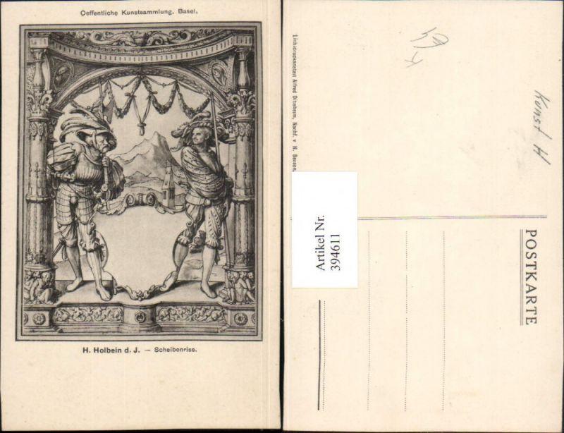 Künstler AK H. Holbein d. J. Scheibenriss Ritter Schwerte