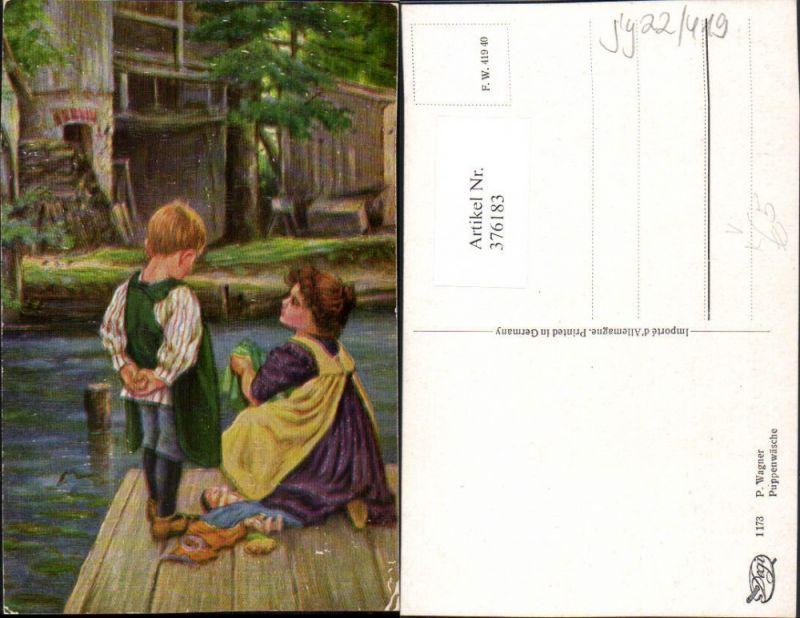 Degi AK 1173 Künstler P. Wagner Puppenwäsche Kinder Steg Puppen
