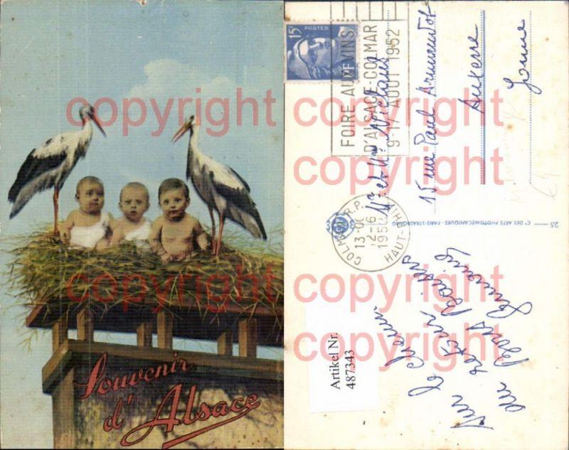 Fotomontage Kinder m. Störchen Storch Nest Souvenir d Alsace