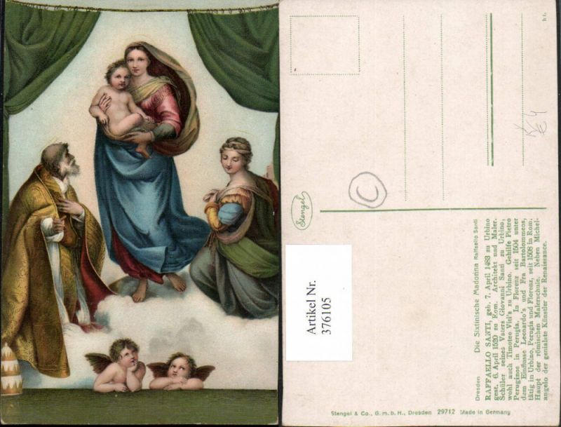 Stengel Co 29712 Künstler Raffaello Santi Sixtinische Madonna Maria Jesus
