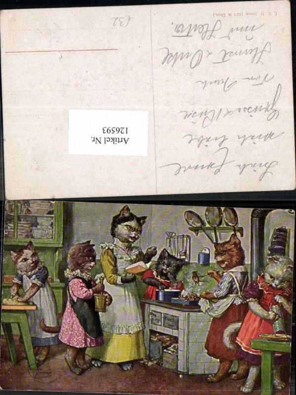Arthur Thiele vermenschlichte Katzen personifizierte am Herd kochen Theo