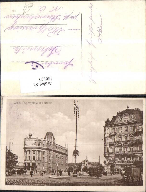 Wien Innere Stadt Aspernplatz m. Urania Ansicht Kutschen