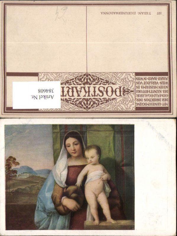 384608.Künstler AK Tizian Mignon Madonna m. Jesuskind nackt