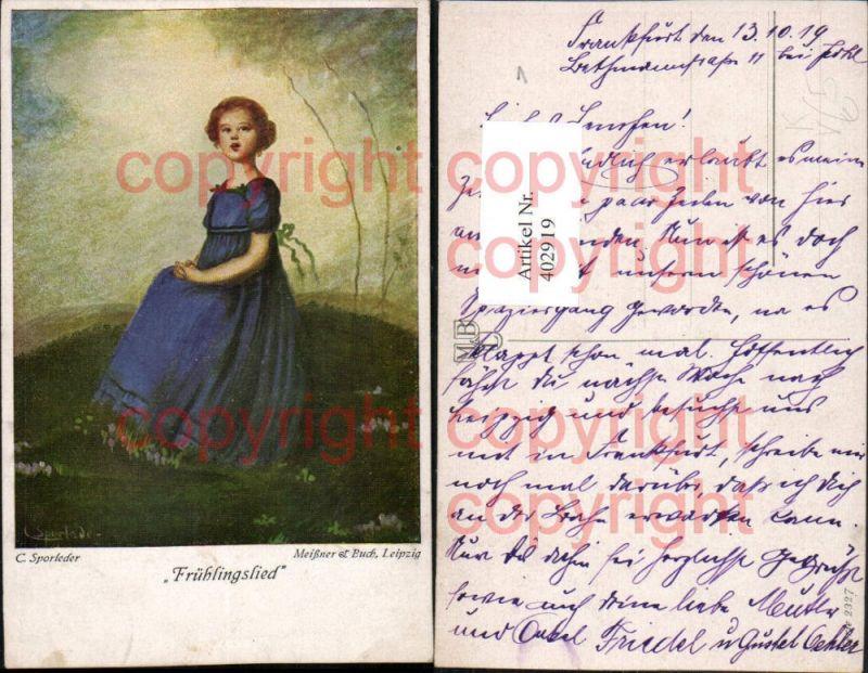 Meissner & Buch 2327 Künstler C. Sporleder Frühlingslied Mädchen m. Kleid