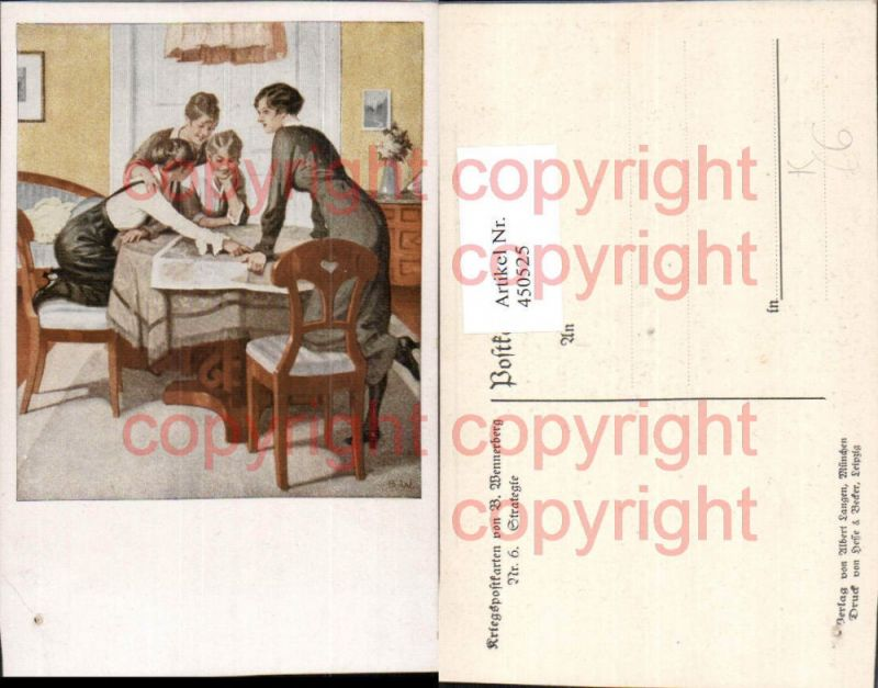 Künstler AK Brynolf Wennerberg Strategie Frauen Tisch Karte