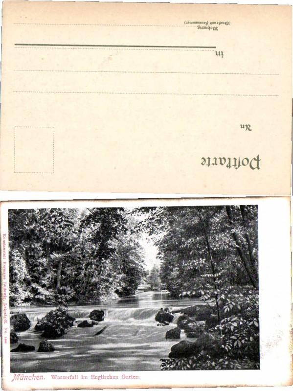 München - Wasserfall im Englischen Garten gel. 1907 Nr. 396306076 ...