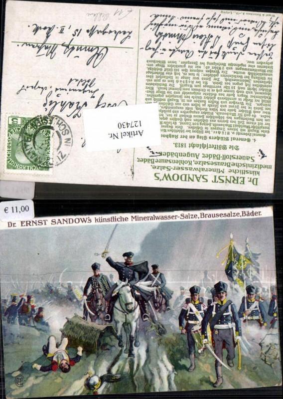 Ernst Sandow Mineralwasser Reklame Werbe Reklamekarte Soldaten Kavallerie
