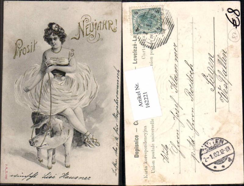 Neujahr Jugendstil Frau sitzt auf Ferkel Schwein Art Nouveau