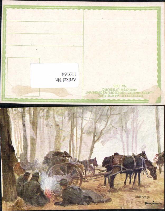 Kriegsfürsorge 396 Soldaten Kavallerie Hans Larwin sign. Pferde im Wald U