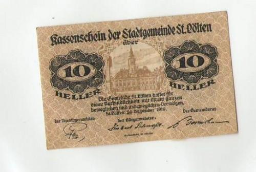 16876;Notgeld Kassenschein St Pölten 10 Heller