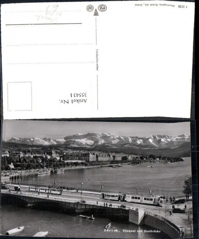 Straßenbahn Zürich Utoquai u. Quaibrücke Brücke Ruderboot