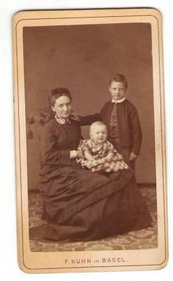 23158;CDV Foto Frau Baby Bub Basel 1890