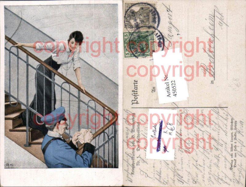 Künstler AK Brynolf Wennerberg Feldpostbrief Postbote Frau Stege