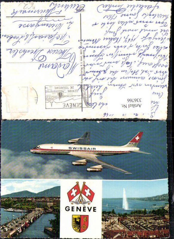 Mehrbild Ak Swissair DC 8 Geneve Genf Wappen Brücke Schiff