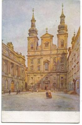 7514;Wiener Künstler Karte Wien Jesuitenplatz Kirche