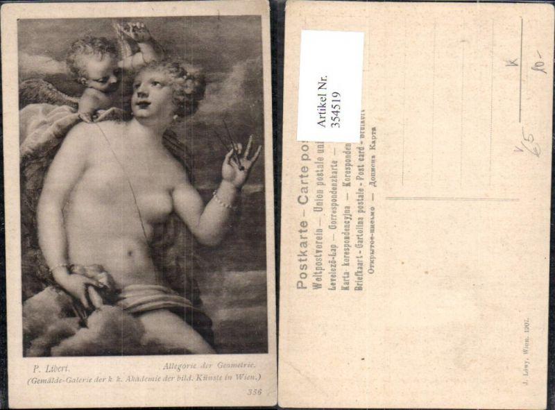 Künstler Ak P. Liberi Allegorie der Geometrie Barbusige Frau Engel Erotik