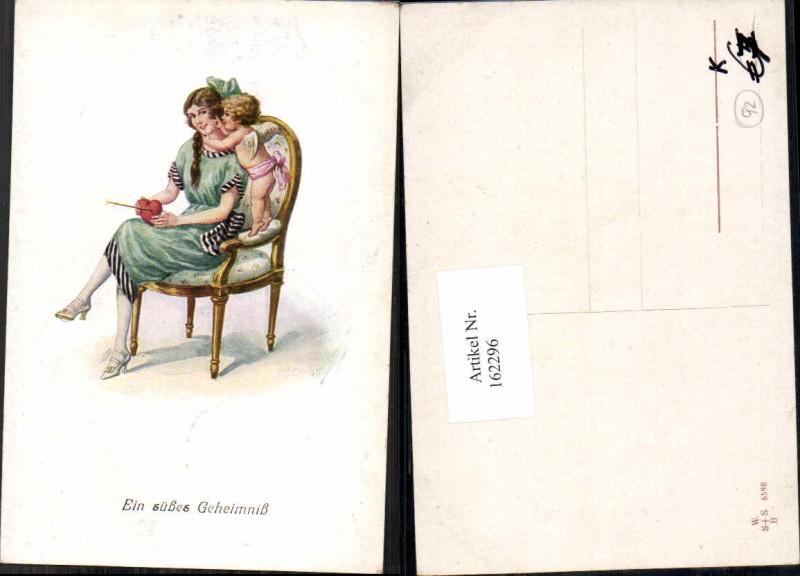 Künstler AK Litho Amor hat Herz Frau gegeben F. Kaskeline sign.
