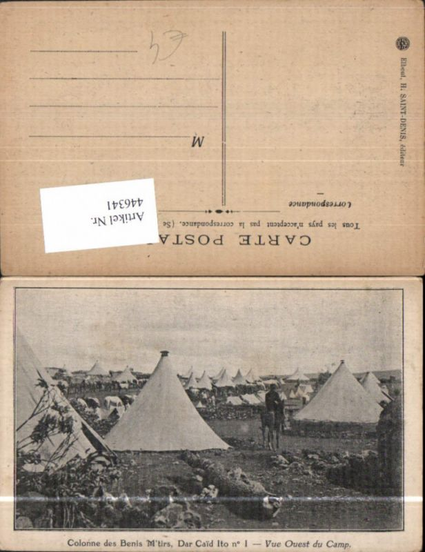 WW1 Colonne des Benis Mtirs Vue Quest du Camp Lager Zelte Kavallerie