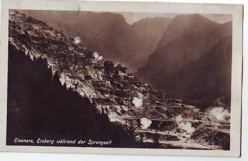 28865;Eisenerz Erzberg während d. Sprengzeit 1928 Bahnp