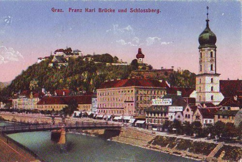 18954;Graz Franz Karl Brücke Schlossberg COLOR 1918