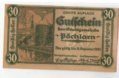 16912;Notgeld Pöchlarn 30 Heller