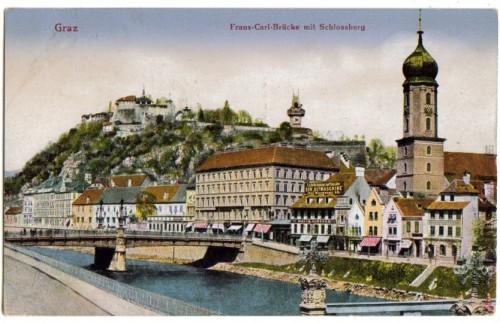 14935;Graz Franz Carl Brücke m. Schlossberg 1920